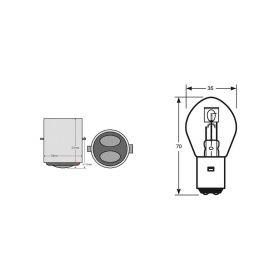 10 LAMPADINE OKYAMI BILUX 12V 35/35W BA20D